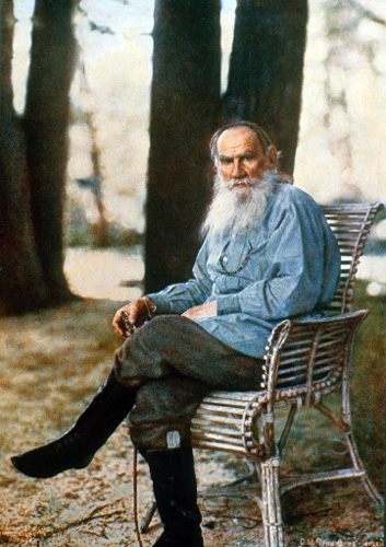This image is Tolstoy in May, 1908, four months before his 80th birthday. It was taken at the Tolstoy family home in Vasnaya Polvana by Sergey Prokudin-Gorsky and is the first color photograph taken in Russia. It is in the public domain according to the Civil Code of the Russian Federation.