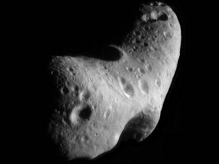 This image, taken by NASA's Near Earth Asteroid Rendezvous mission in 2000, shows a close-up view of Eros, an asteroid with an orbit that takes it somewhat close to Earth. Credits: NASA/JHUAPL