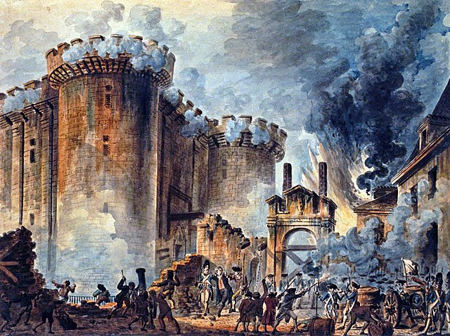 """The Storming of the Bastille"" is a watercolor executed by  Jean-Pierre Louis Laurent Houël in 1789. It is scanned from the original which resides in the National Library of France and is in the public domain.  Visible in the center is the arrest of Bernard-René Jourdan de Launay, commander of the Bastille and its garrison."