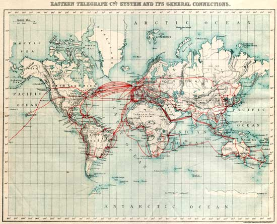 This is a scan of the 1901 Eastern Telegraph Company System Map from A.B.C. Telegraphic Code 5th Edition. It is used with permission by the owner of History of the Atlantic Cable & Undersea Communications:  from the first submarine cable of 1850 to the worldwide fiber optic network  the Internet's best authority on the subject.