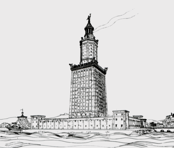This image is a drawing of the Pharos of Alexandria by German archaeologist Prof. H. Hermann Thiersch (1909) and is in the public domain.