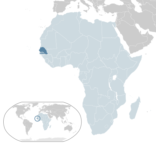 Map of Senegal and its location in Africa.