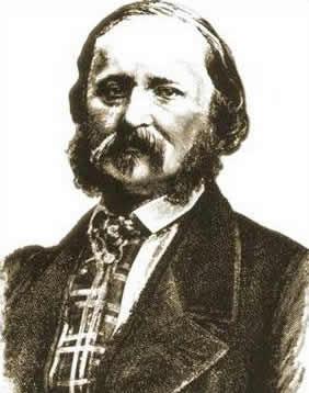Portrait of French typographer Édouard-Léon Scott de Martinville (1817-1879), inventor of the phonautograph.