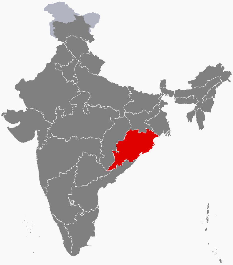 This image of the location of Odisha in India is the work of Filpro and is made available under a CC BY-SA 4.0 license.