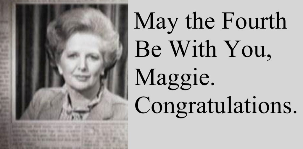 The London Evening News advertisement congratulating Margaret Thatcher on winning the 1979 PM election.