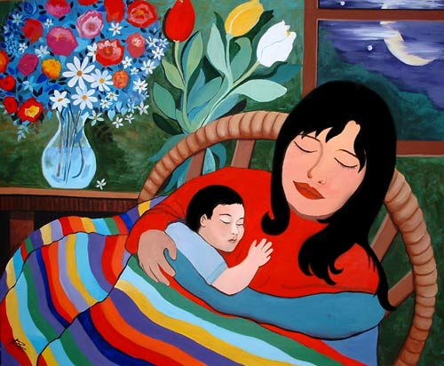 La Madre (The Mother) Painted by Cristina Alejos Cañada. Acrylic on Canvas. (2005)