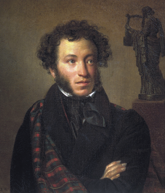 This portrait of A. S. Pushkin was realized by Orest Kiprensky, 1827. The original hangs in Tretyakov Gallery in Moscow.
