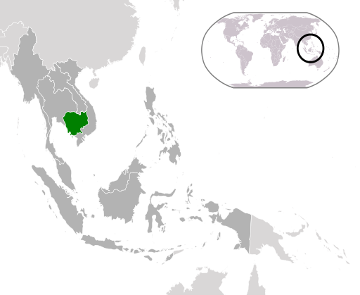 Map of Cambodia in South East Asia