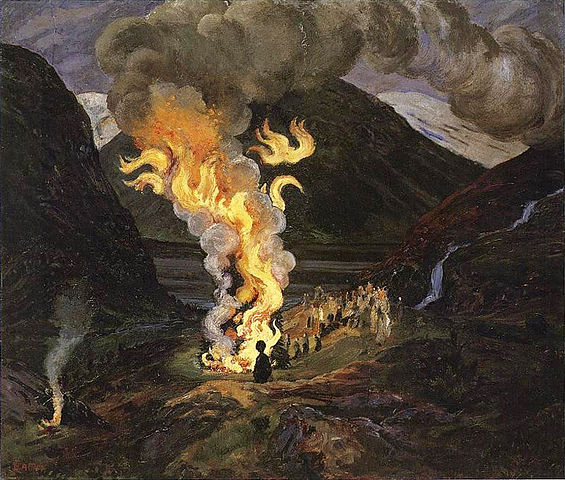 This image is St. John's Fire by Nikolai Astrup, 1912. The original resides in the National Gallery of Norway.