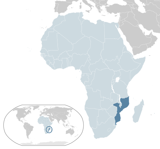 Location of Mozambique (dark blue) in the African Union (light blue) By Alvaro1984 18 - Own work, Public Domain, https://commons.wikimedia.org/w/index.php?curid=7410222