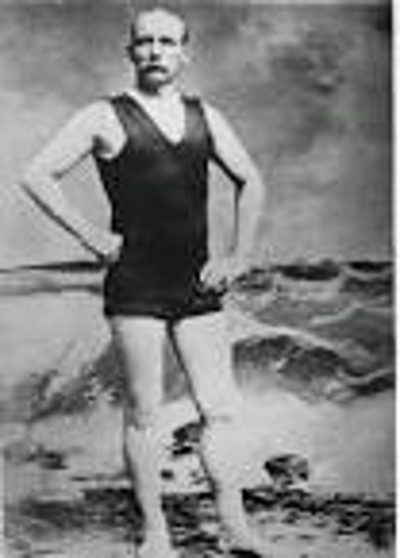 Photograph of Matthew Webb, the man who made the first recorded swimming of the English Channel.