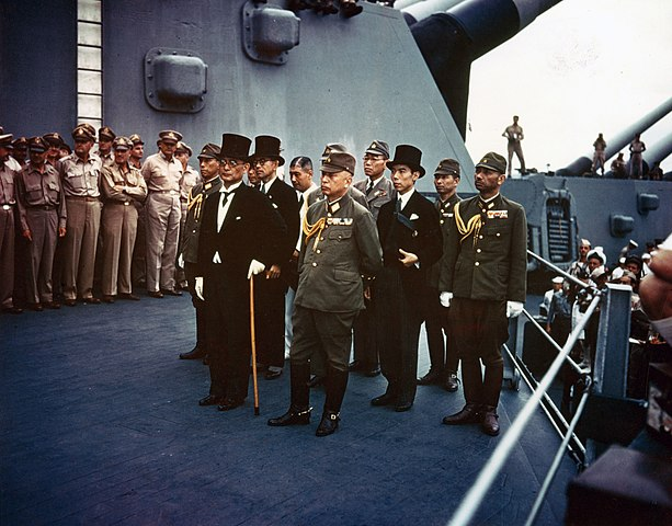 Surrender of Japan, Tokyo Bay, 2 September 1945: Representatives of the Empire of Japan on board USS Missouri (BB-63) during the surrender ceremonies.