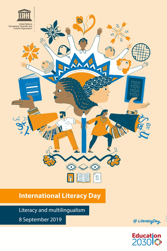 Official 2019 International Literacy Day poster. 2019 Theme: Literacy and Multilingualism.