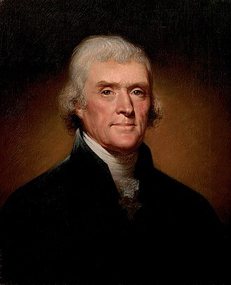 Portrait of Thomas Jefferson, third president of the United States.  It is part of the White House collection and was created by Rembrandt Peale in 1800.