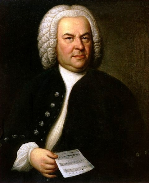Johann Sebastian Bach (aged 61) in a portrait by Elias Gottlob Haussmann, copy or second version of his 1746 canvas. The original painting hangs in the upstairs gallery of the Altes Rathaus (Old Town Hall) in Leipzig, Germany.