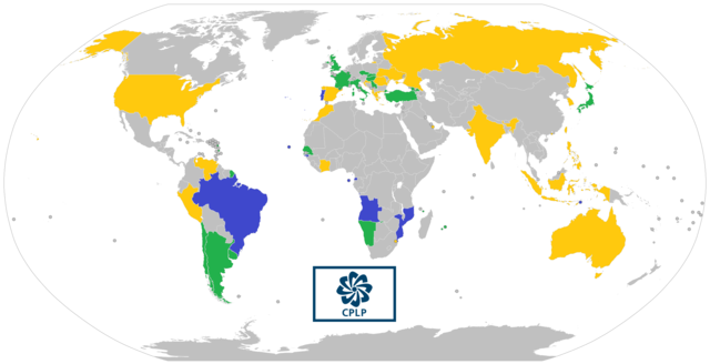 This image was created by Cristiano Tomás and is available under a CC BY-SA 4.0 license. It shows a map of CPLP member states (blue), associate observers (green), and officially-interested countries & territories (gold).