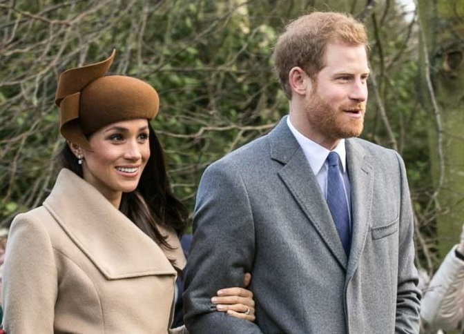 Prince Harry and Meghan Markle with other members of the royal family going to church at Sandringham on Christmas Day 2017 by Mark Jones.  Available with a CC BY 2.0 license.