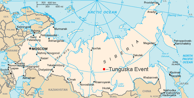 Map showing the approximate location of the Tunguska event of 1908.  Created by Bobby D. Bryant and available under a CC BY-SA 3.0 license.