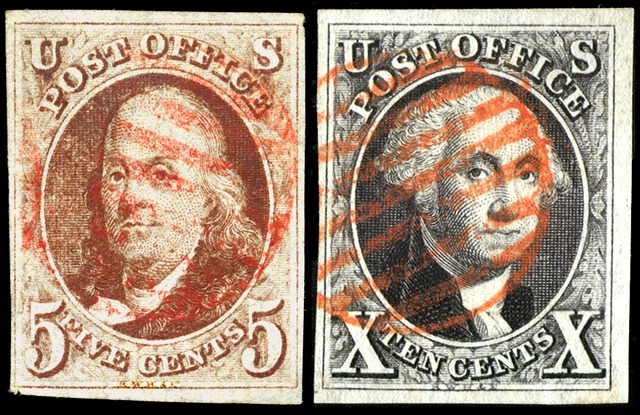 The First U.S. Postage Stamps, issued 1847. The first stamp issues were authorized by an act of Congress and approved on March 3, 1847. The earliest known use of the Franklin 5¢ is July 7, 1847, while the earliest known use of the Washington 10¢ is July 2, 1847. Remaining in postal circulation for only a few years, these issues were declared invalid for postage on July 1, 1851.