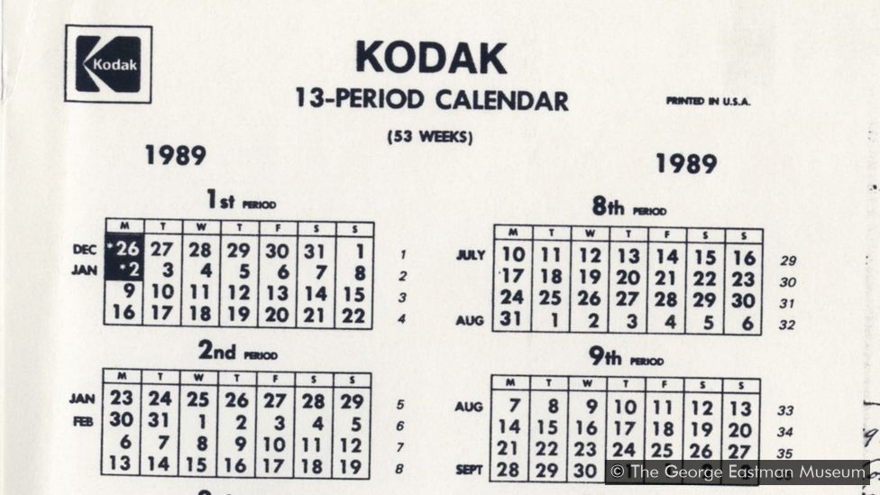 The Kodak calendar used from 1928-1989.  Courtesy of the Eastman Museum.